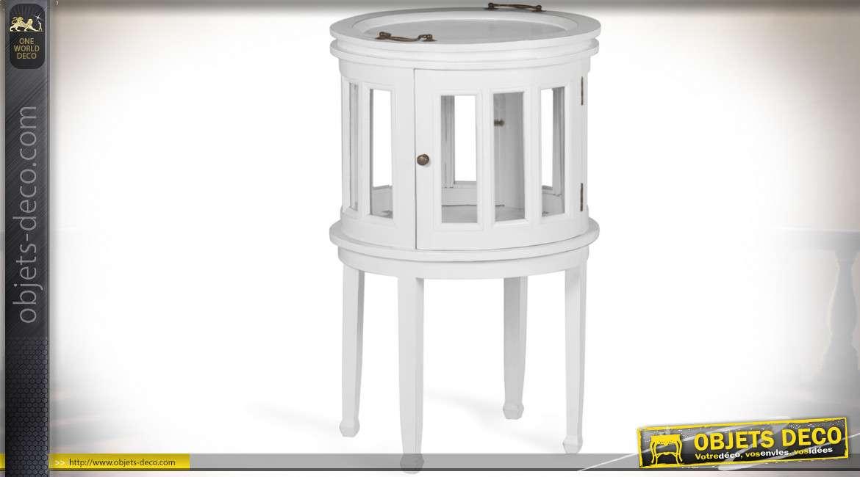 Meuble à liqueur cylindrique de style colonial patine blanche 78 cm