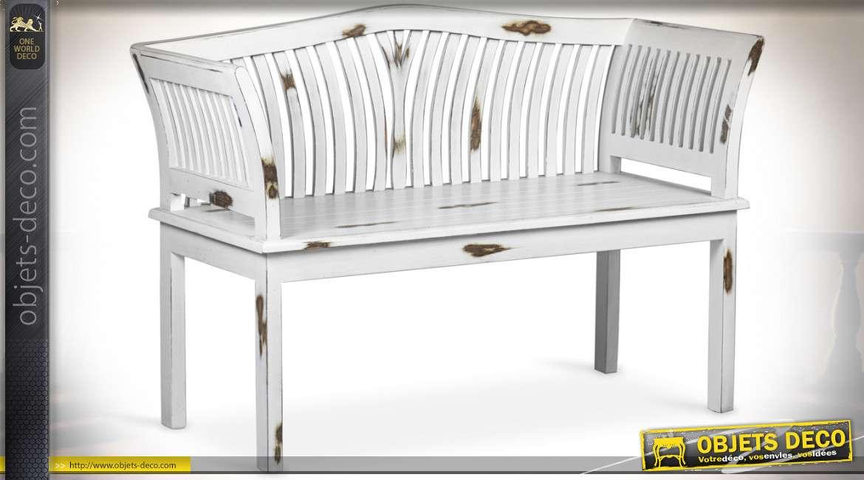 Banc en bois massif de style rustique patine blanche vieillie 117 cm