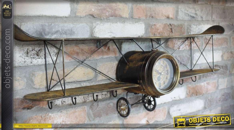 Avion biplan en métal oxydé pour décoration murale avec horloge 96 cm