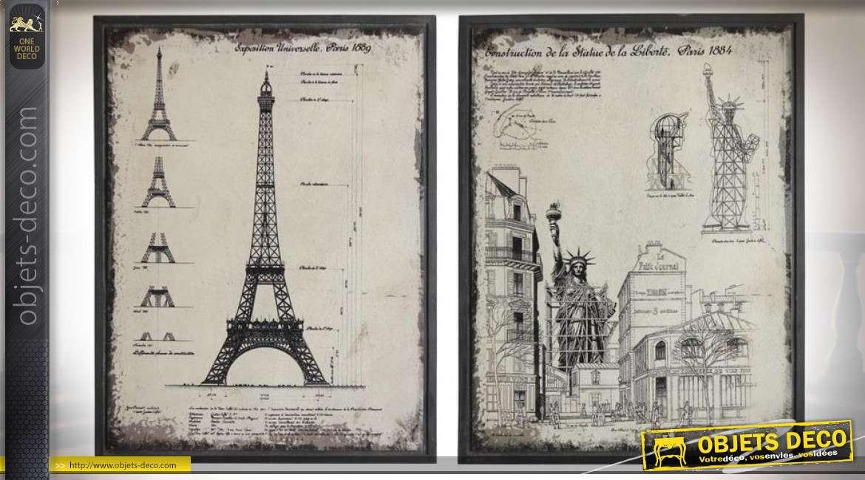 Tableaux encadrés : architecture Tour Eiffel et Statue de la Liberté 85,5 cm