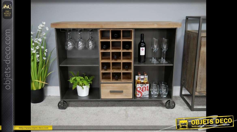 Meuble bar industriel en bois et  métal avec casier à vin central