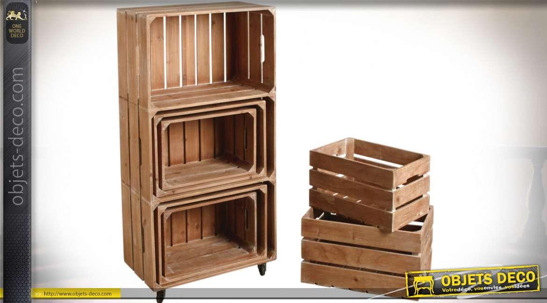 Ensemble meuble étagère et six caisses de rangement assorties