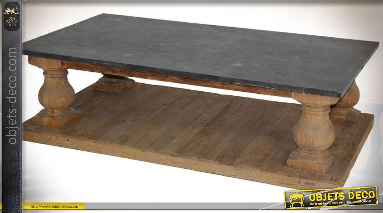 Table basse à colonnes en bois tourné avec plateau en pierre gris anthracite