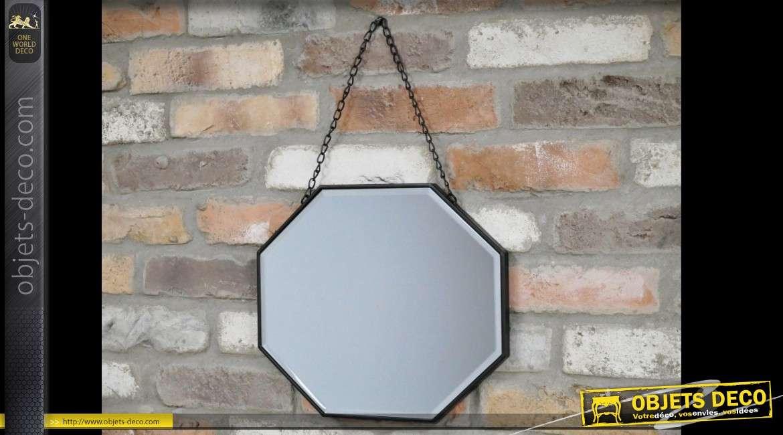 Miroir octogonal en métal à suspendre de style rétro Ø 36 cm