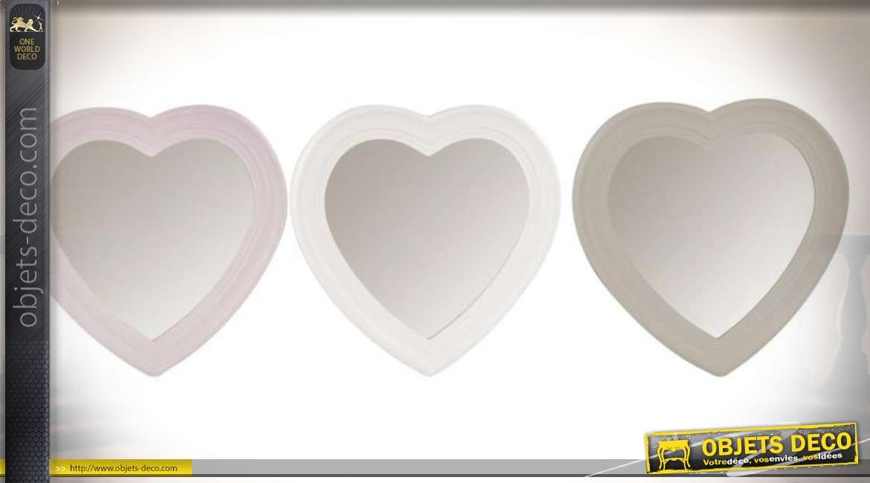 Série de 3 miroirs décoratifs en formes de cœurs en 30 x 30 cm
