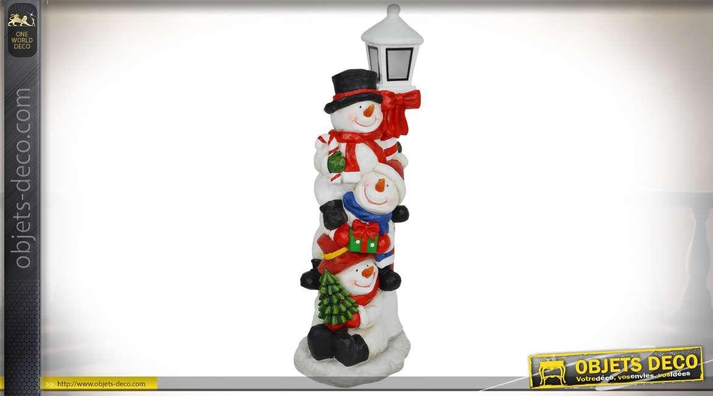 Grande déco de Noël : bonshommes de neige avec lanterne 1,26 mètre