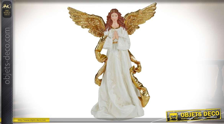 Grande statuette d'ange en prière blanc et doré 60 cm