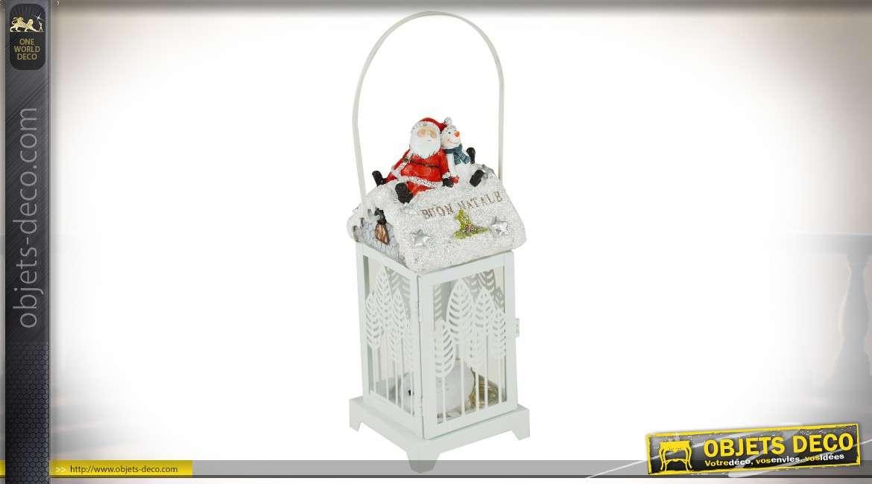 Lanterne décorative blanche avec Papa Noël et bonhomme de neige 28 cm