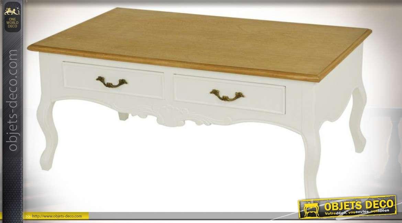 Table basse de style ancien avec patine crème et plateau bois ciré 110 x 55 cm