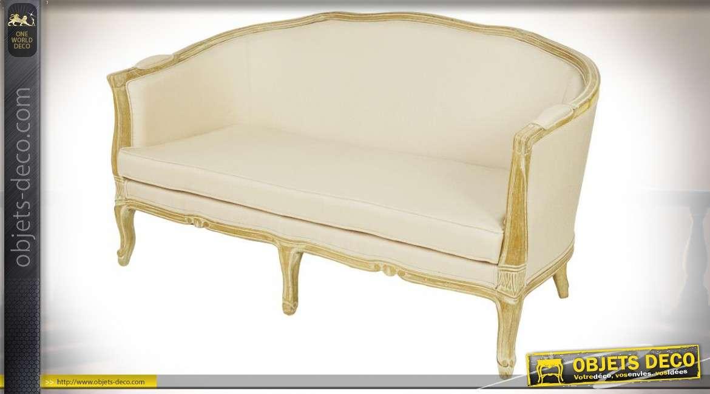Canapé de style rétro inspiration Louis XV tissu sable bois vieilli 157 cm