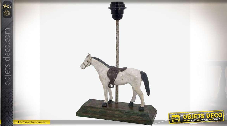 Pied de lampe avec statuette de cheval sur socle en bois 35,5 cm