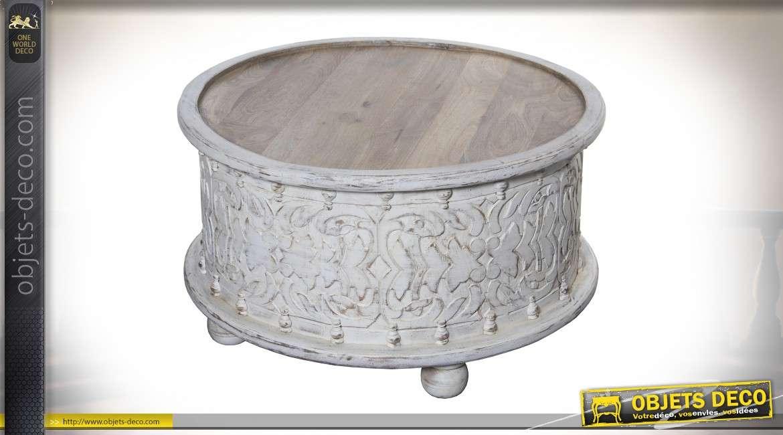 Table basse circulaire de style oriental patine blanche et bois naturel vieilli Ø 80 cm