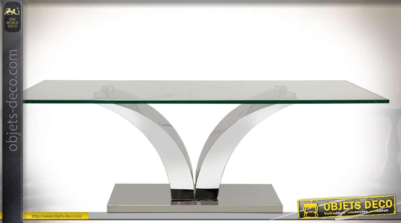 Table basse design en métal chromé avec plateau en verre 12 mm