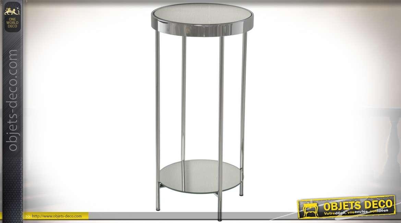 Sellette design ronde en métal chromé avec miroir Ø 30 cm