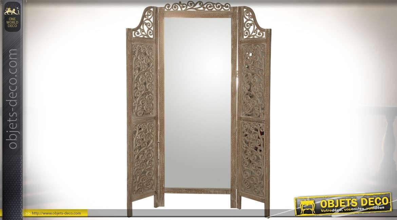 Paravent miroir en manguier sculpté à trois battants 182 cm