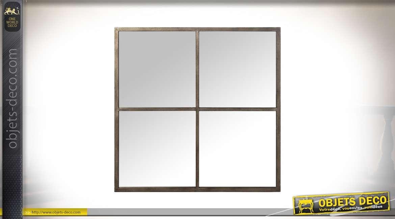 Miroir-fenêtre carré de style industriel en métal patine Champagne 80 x 80 cm