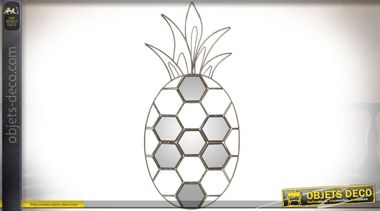 Décoration murale miroir en forme d'ananas argenté stylisé 56 cm