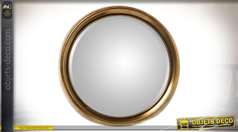 Grand miroir rond en métal finition dorée à l'ancienne Ø 80 cm