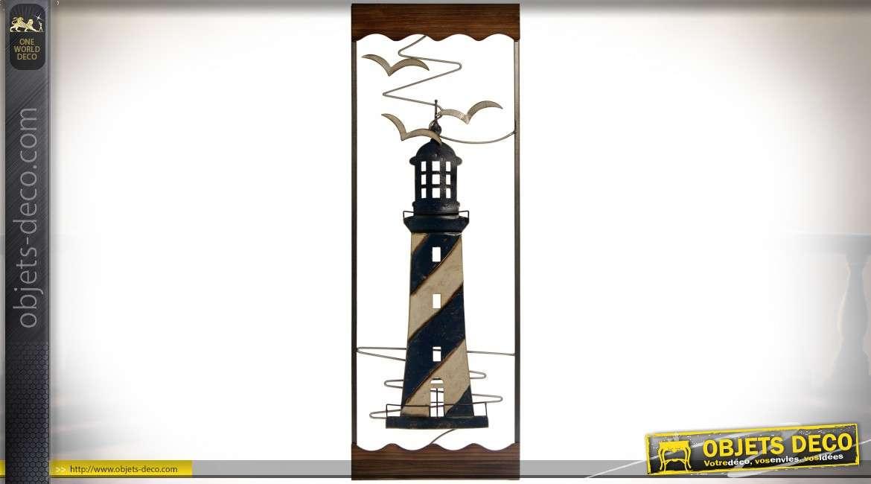 Décoration murale en métal et bois : phare marin 89,5 cm