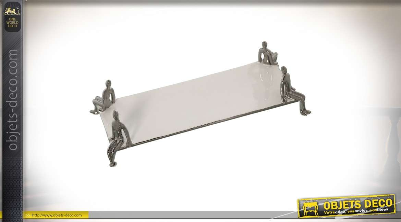 Centre de table original en céramique argentée  brillante
