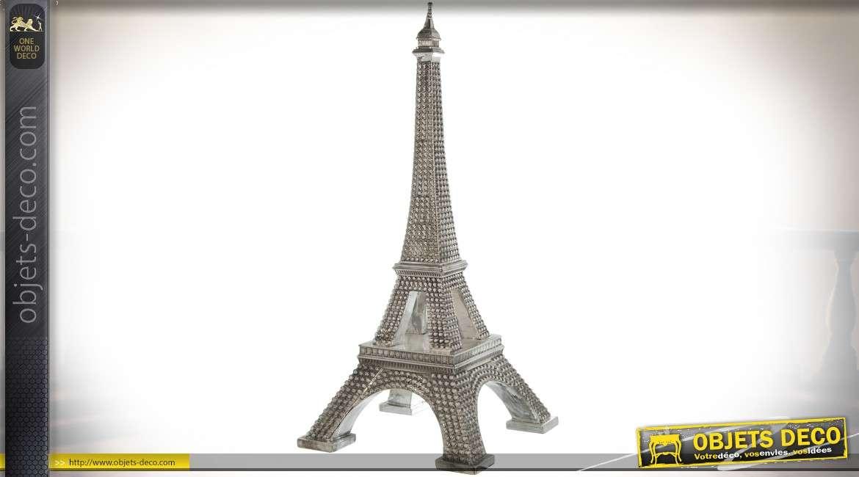 Grande décoration en forme de tour Eiffel finition argentée 1,2 mètre