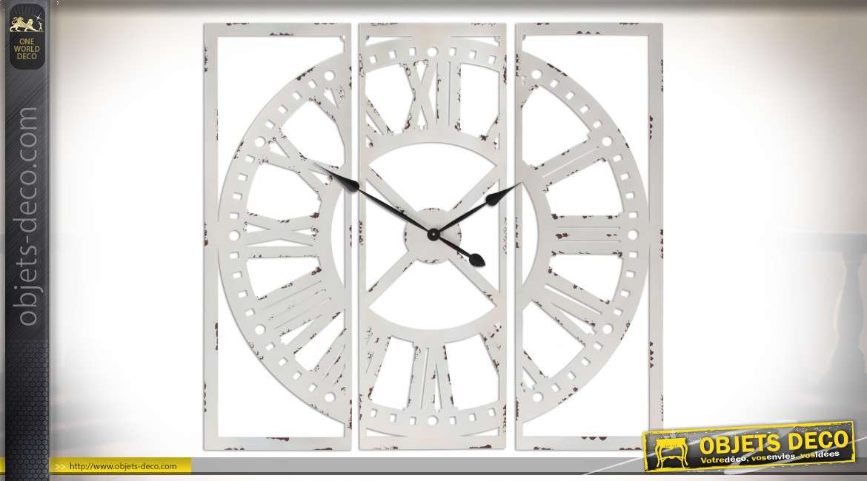 Grande horloge de style rétro en triptyque en métal blanc vieilli 1 mètre x 1 mètre