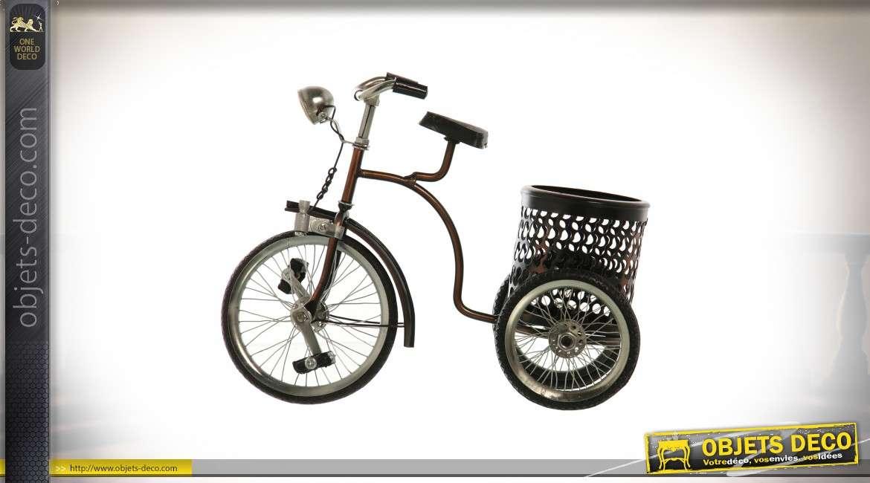 Reproduction tricycle en métal rétro avec pot porte-crayons 24 cm