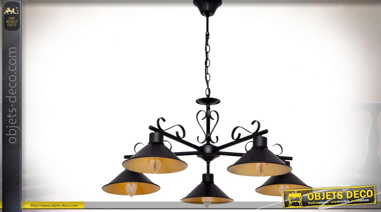 Grande suspension rétro rustique style fer forgé couleur noire à 5 réflecteurs Ø 75 cm
