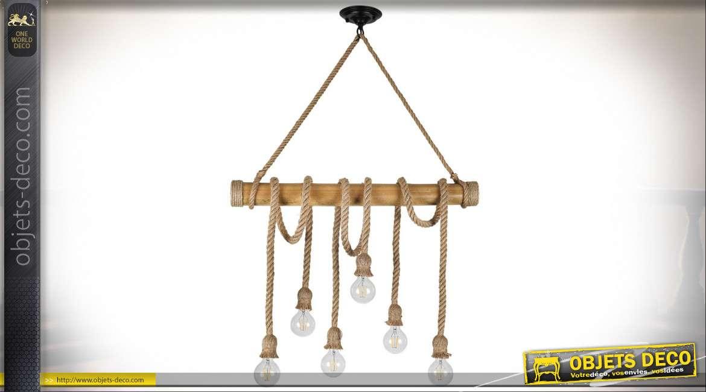 Suspension rustique en bois et cordage à six points de lumière 96 cm
