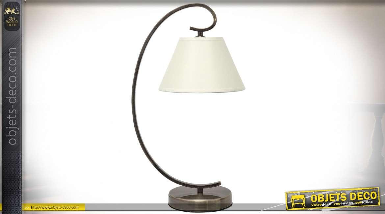Lampe de salon avec pied galbé en métal finition bronze et abat-jour conique suspendu 47 cm