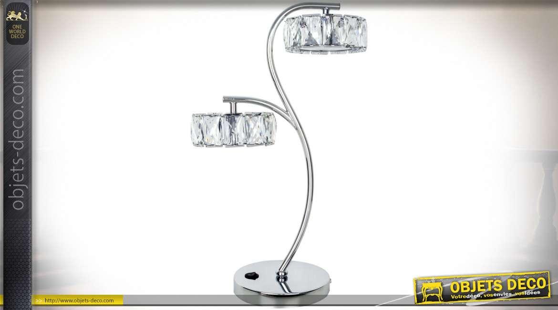 Lampe de salon design Radiante en verre cristallin taillé et chrome 47,5 cm