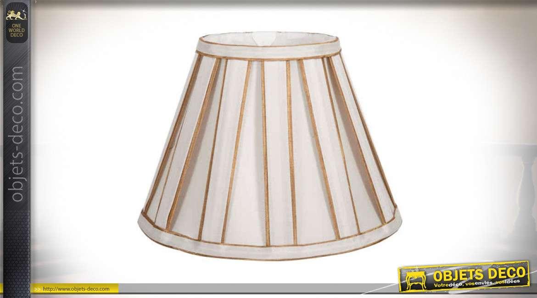 Abat-jour conique en tissu plissé coloris beige clair et doré Ø 40 cm