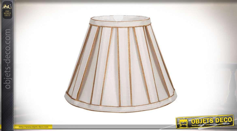 Abat-jour conique en tissu plissé coloris beige clair et doré Ø 45 cm