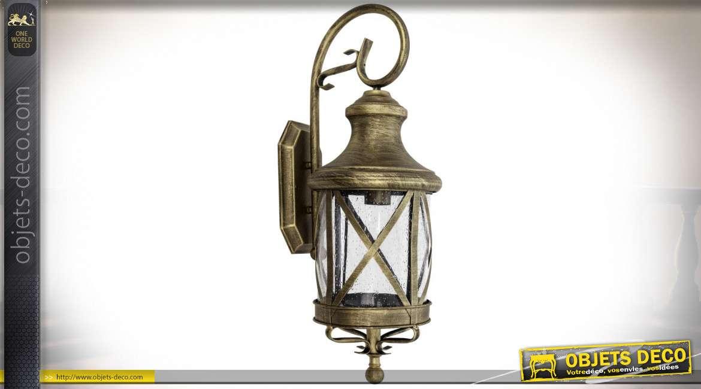 Applique en forme de lanterne cylindrique rétro en métal doré vieilli 64 cm