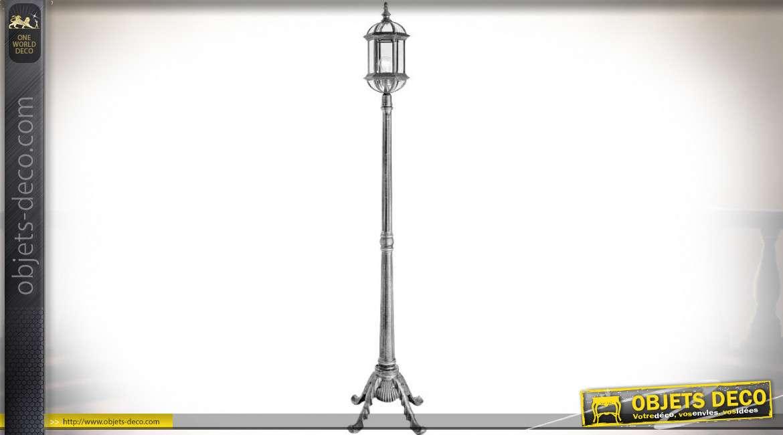 Grande lanterne sur pied en aluminium argenté style rétro 2,22 mètres