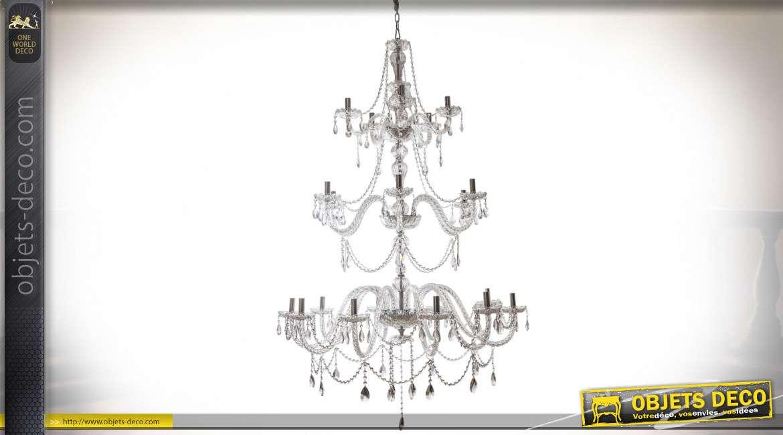 Grand lustre pampilles baroque à trois étages 21 points de lumière 180 cm
