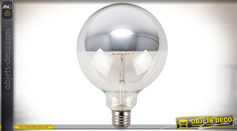 Ampoule LED globe avec hémisphère antérieur chromé Ø 12,5 cm 8 watts 2700°K 700 lumens