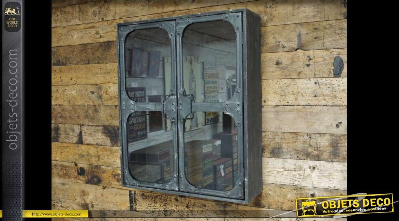 Etagère murale vitrée style indus à deux portes vitrées 61 cm