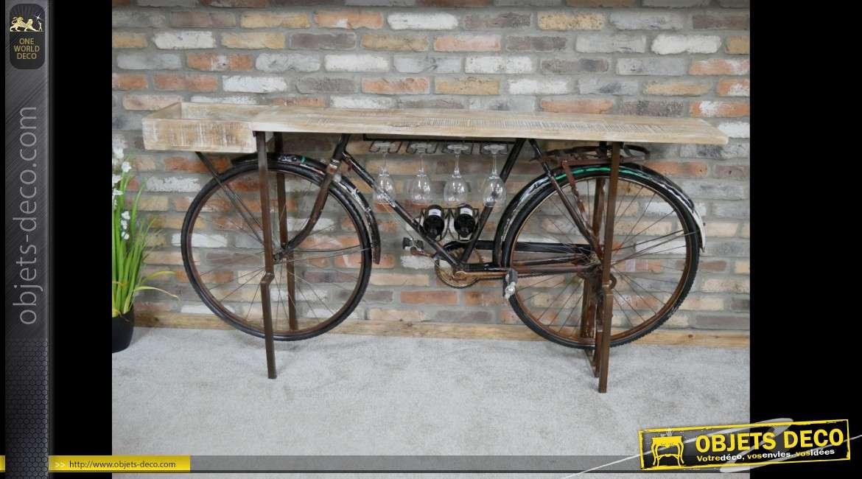 Meuble bar industriel avec ancienne bicyclette 193 cm