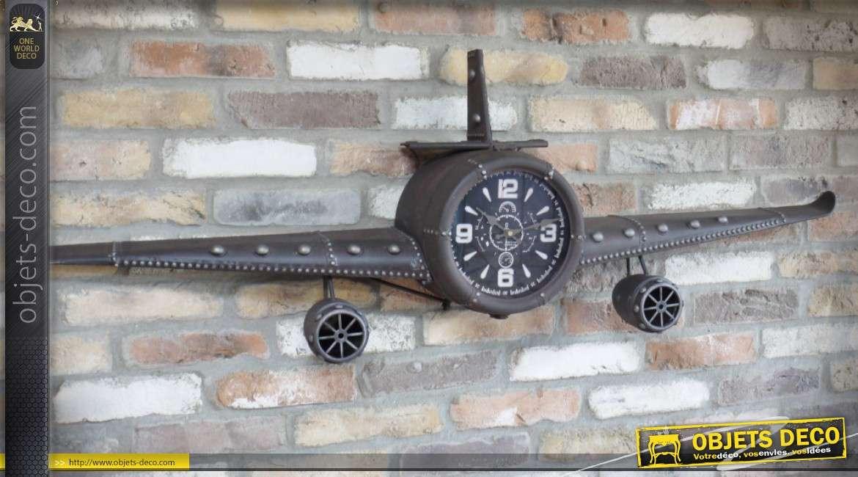 Avion décoratif mural en métal gris anthracite avec horloge centrale 1,45 mètre
