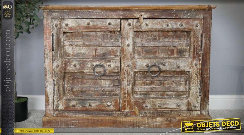 Buffet rustique en bois recyclé massif esprit meuble médiéval 111 cm