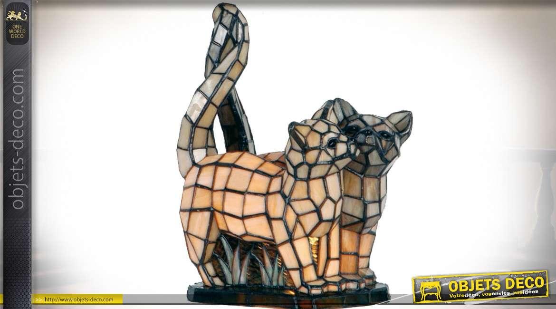 Lampe de table Tiffany couple de chats 35 cm