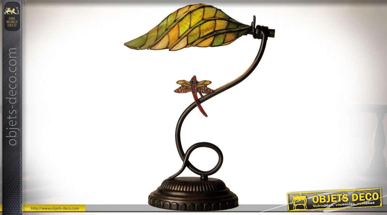 Lampe de bureau Tiffany libellule verte 45 cm