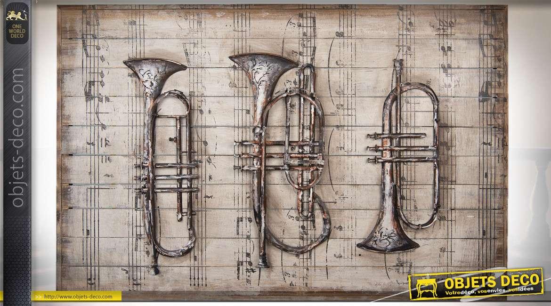 Grande décoration murale en bois et métal instruments de musique en relief 120 cm