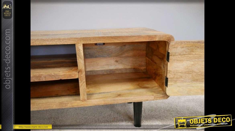 Meuble TV industriel et rétro en bois et métal avec 2 portes et 4 niches 190 cm