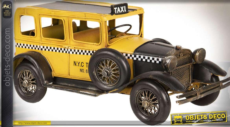 Modèle réduit de décoration ancien tacot taxi noir et jaune 32 cm