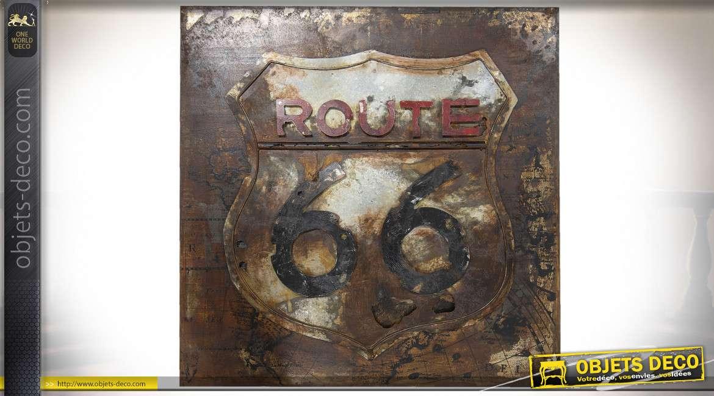 Grande plaque décorative vintage thème Route 66 US 80 cm