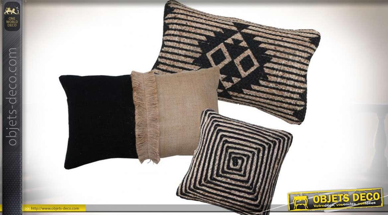 Ensemble de 3 coussins assortis en jute et coton noir style boho 30 x 50 cm