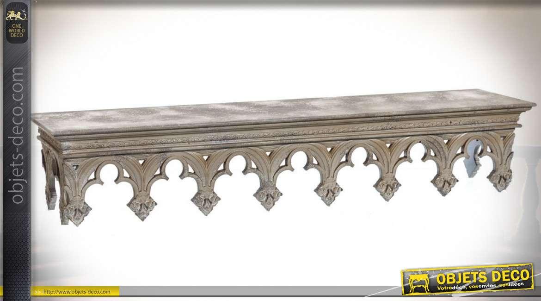 Grande étagère murale en bois style gothique effet minéral marbré 118 cm
