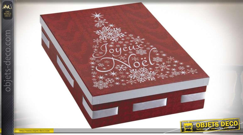 Boîte rectangulaire rouge et blanche en carton Joyeux Noël 36,5 cm